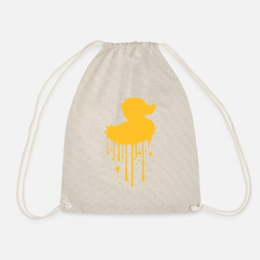 Duck graffiti drops spray stamp silhouette squeak - Drawstring Bag