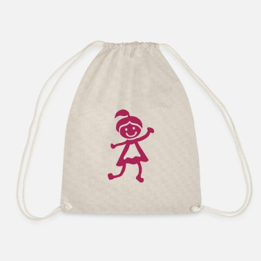 Childrens Drawing girl children drawing 1 01 - Drawstring Bag