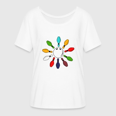 Bowling skittle gift vintage - Women's Batwing-Sleeve T-Shirt by Bella + Canvas