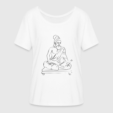 Lotus Position Monk meditating in lotus position - Women's Batwing-Sleeve T-Shirt by Bella + Canvas