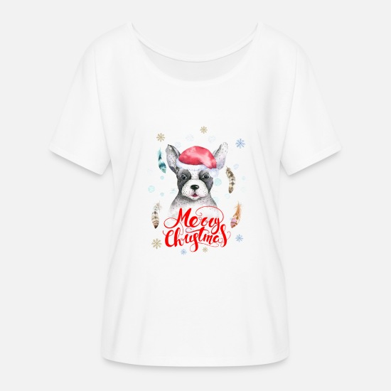 Christmas T-Shirts - Merry Christmas Boho Dog Hund - Frauen Fledermaus T-Shirt Weiß