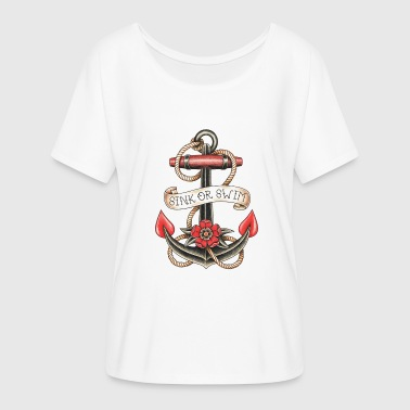 Flash Tattoo ANCHOR TATTOO - Women's Batwing-Sleeve T-Shirt by Bella + Canvas