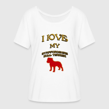 I LOVE MY DOG Staffordshire Bull Terrier - Women's Batwing-Sleeve T-Shirt by Bella + Canvas