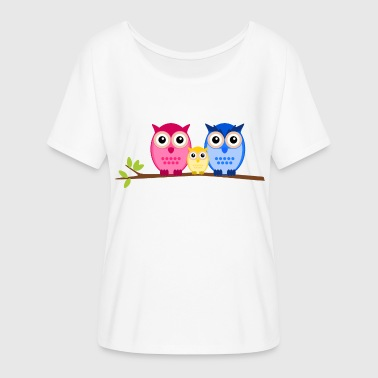 Owls family - Women's Batwing-Sleeve T-Shirt by Bella + Canvas