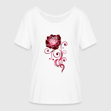 Rose Tattoo Rose Tribal Tattoo Rose, aquarelle. - T-shirt manches chauve-souris Femme Bella + Canvas