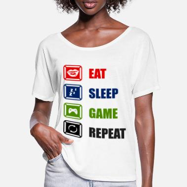 Playing Card Eat Sleep Game Repeat - Women's Batwing T-Shirt