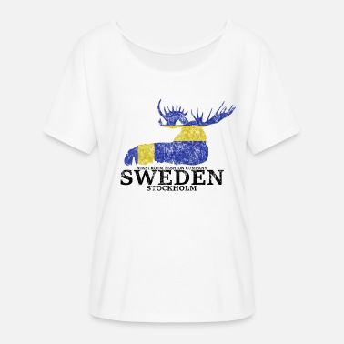 Wikstroem Sweden moose Sweden flag used look - Women's Batwing T-Shirt