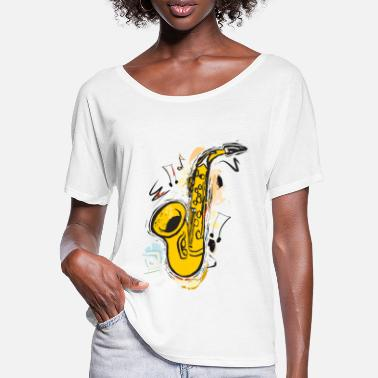 Saxophon Sax Funkelnde Sketch Drawing - Frauen Fledermaus T-Shirt