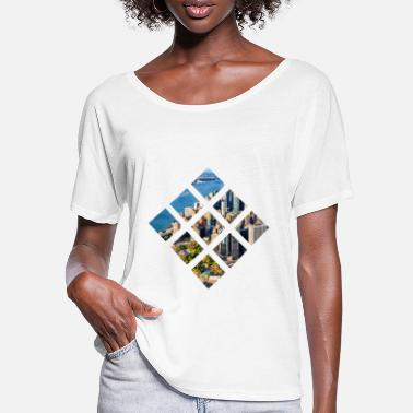 Manhatten Stadt - City Skyline Vierecke - Frauen Fledermaus T-Shirt