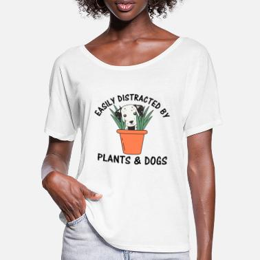 Thumbs Easily Distracted By Plants And Dogs - Frauen Fledermaus T-Shirt