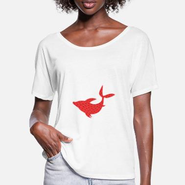 Sea Dweller Dolphin - red silhouette - Women's Batwing T-Shirt