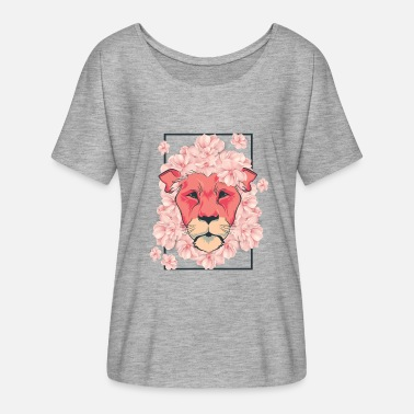 Safari Girls Lion flowers flowers gift girl safari cat - Women's Batwing-Sleeve T-Shirt by Bella + Canvas