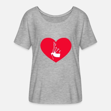 Bagpipe heart - Women's Batwing-Sleeve T-Shirt by Bella + Canvas