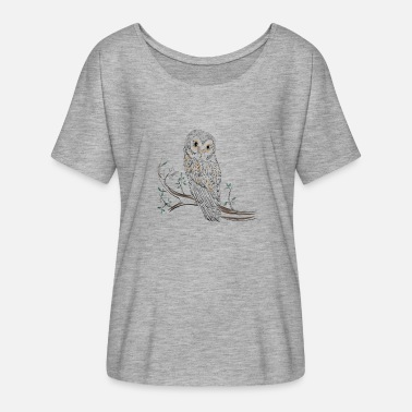 Owl Draw Owl drawing on branch - Women's Batwing-Sleeve T-Shirt by Bella + Canvas