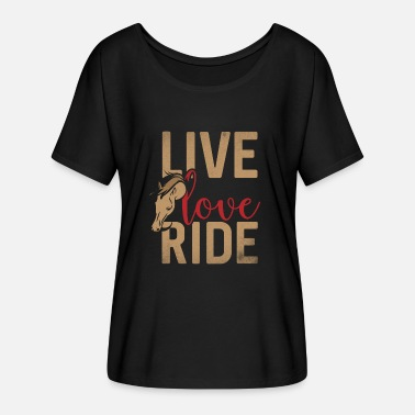 Ride Live Love Ride - Dame T-shirt med flagermusærmer fra Bella + Canvas