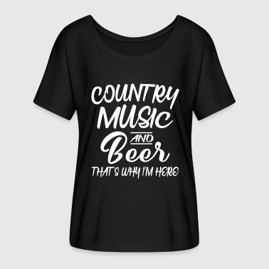 Funny Country Music Country Music And Beer - Women's Batwing-Sleeve T-Shirt by Bella + Canvas