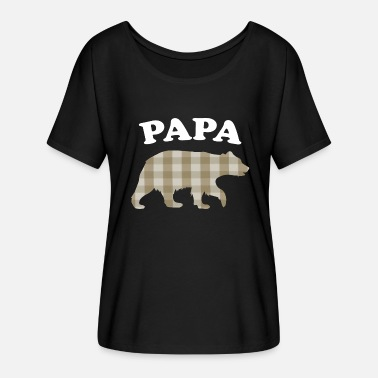 Red Sox Papà orso plaid marrone - Maglietta da donna con maniche a pipistrello di Bella + Canvas