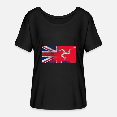 Isle Of Wight British Manxman Half Man Half UK Flag - T-skjorte med flaggermusermer for kvinner fra Bella + Canvas