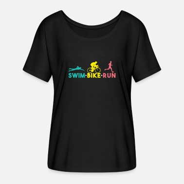 Bike Swim Bike Run Shirt - Regalo - Camiseta mujer con mangas murciélago de Bella + Canvas