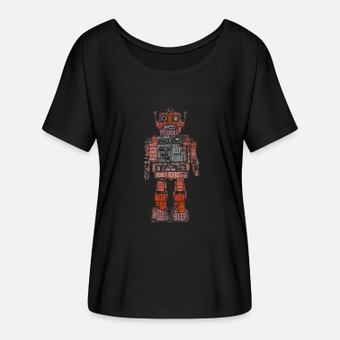 Wordart Retro robot Wordart Gift - Dame T-shirt med flagermusærmer fra Bella + Canvas