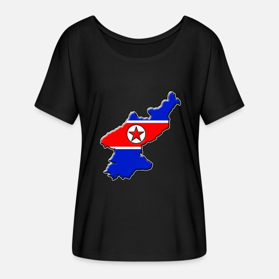 Travel T-Shirts - North Korea flag map - Women's Batwing T-Shirt black