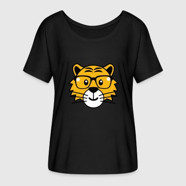 Glass Tiger Tiger glasses summer Funny pictures - Women's Batwing-Sleeve T-Shirt by Bella + Canvas