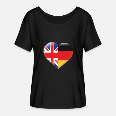 German Flag Heart Flag England Germany German Gift - Women's Batwing-Sleeve T-Shirt by Bella + Canvas