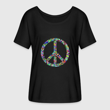 Peace Love hippie pacifist - Dame T-shirt med flagermusærmer fra Bella + Canvas