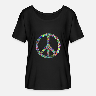 Pacifist Peace Love hippie pacifist - Dame T-shirt med flagermusærmer fra Bella + Canvas