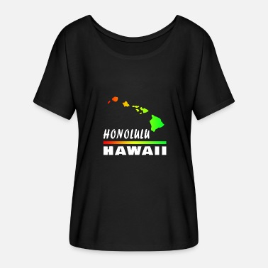 Pearl Harbour Hawaii Honolulu med kort / gavekort - Dame T-shirt med flagermusærmer fra Bella + Canvas