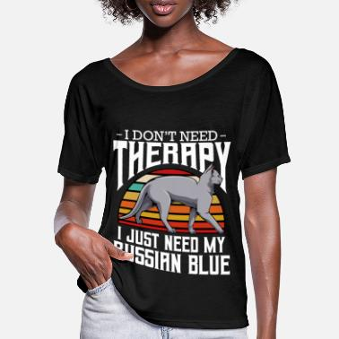 Russian blue cat i don't need therapy retro - Women's Batwing T-Shirt