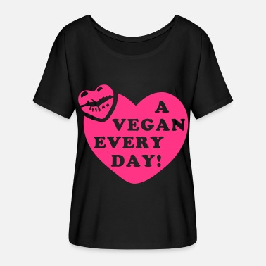 Kiss Kiss a Vegan Every Day! - T-skjorte med flaggermusermer for kvinner