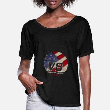 Us American Muscle US Car I Vintage Retro V8 Design - Frauen Fledermaus T-Shirt