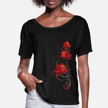 Red Rose Red roses with thorns love romance - Women's Batwing T-Shirt