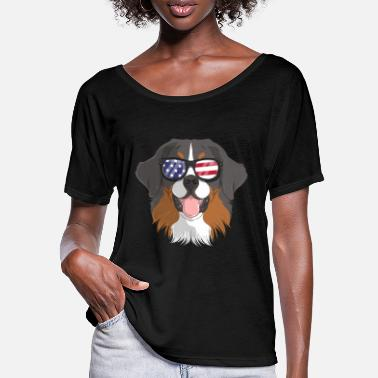 Pride Patriotic Bernese Mountain Dog Merica American - Women's Batwing T-Shirt