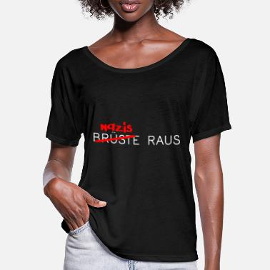 Nazis instead of breasts out against right fascism - Women's Batwing T-Shirt