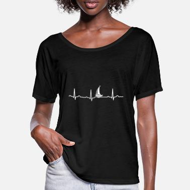 Saliboat ECG HEART BOAT SAILING SHIP YACHT White - Women's Batwing T-Shirt