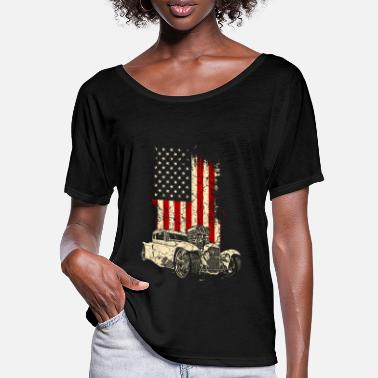 Classic Car Hotrod Classic Car Car Cart Vehicle Driver USA - T-shirt med fladdermusärmar dam