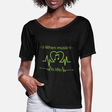 Music Is Life Music Music Heartbeat Life House Techno - T-shirt med fladdermusärmar dam