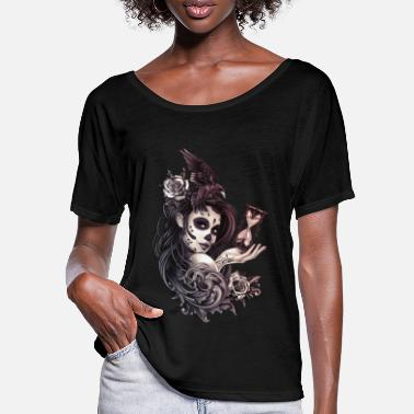 Skull Tattoo Style Sugar Skull Girl with Bird - Women's Batwing T-Shirt