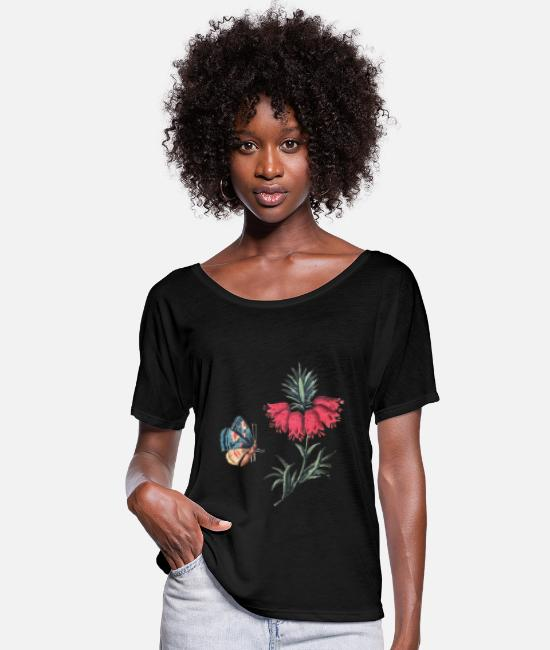 Red T-Shirts - Flying butterfly with flowers - Women's Batwing T-Shirt black