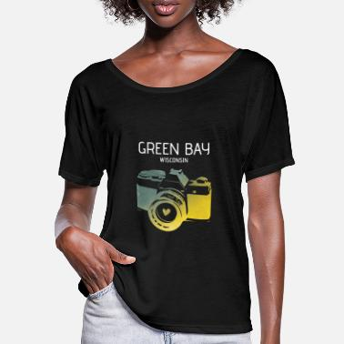 Green Bay Packers Green Bay camera with heart - Women's Batwing T-Shirt