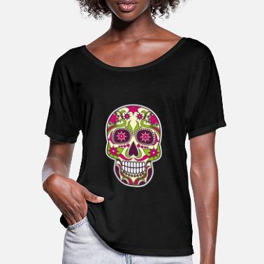 Day Of The Dead Sugar Skull Mask Day of the Dead Skull Gift - Women's Batwing T-Shirt