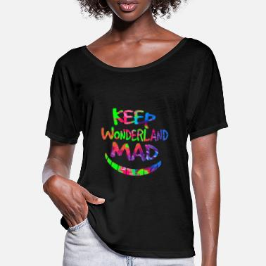 Eventyrland Hold Wonderland Mad Hatter & Cheshire Cat Grin - T-shirt med flagermusærmer dame