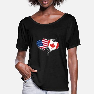 Canada and USA hearts - Women's Batwing T-Shirt