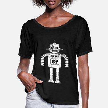 Sciencefiction Beunruhigter Sciencefiction-Retro Roboter - Frauen Fledermaus T-Shirt