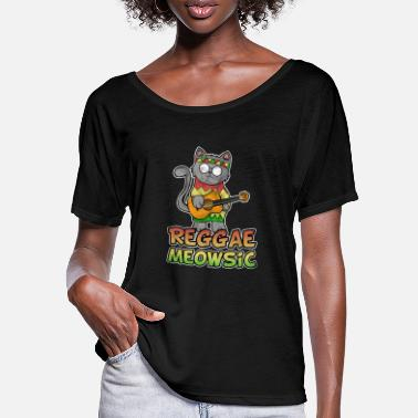 Playing Reggae Cat Guitar Banjo Music Rasta Gift - Women's Batwing T-Shirt