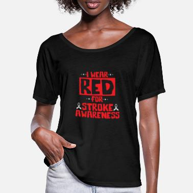 Accidente Cool I Wear Red para la concientización de los sobrevivientes de un accidente cerebrovascular - Camiseta mujer con mangas murciélago