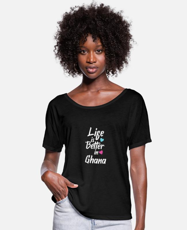 Kw1 T-Shirts - Life Is Better In Ghana Pride - Women's Batwing T-Shirt black