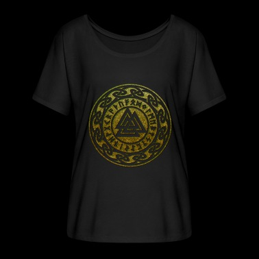 Valknut Vikings Odin symbol sign shapes Pagan - Women's Batwing-Sleeve T-Shirt by Bella + Canvas